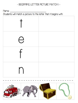 Letter & Picture Matching: Uppercase, Lowercase, Beginning Sounds, CVC Words