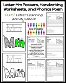 Letter Poster, Handwriting Worksheet, and Phonics for Kind