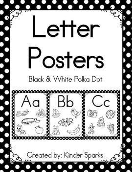 Letter Posters -Black & White Polka Dot