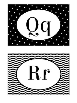 Letter Posters / Word Wall Posters in Black and White Theme