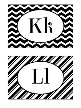 Alphabet Wall Cards / Word Wall Cards in Black and White Theme
