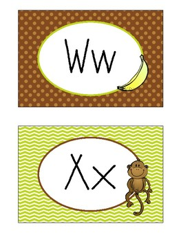 Letter Posters / Word Wall Posters in Monkey Theme