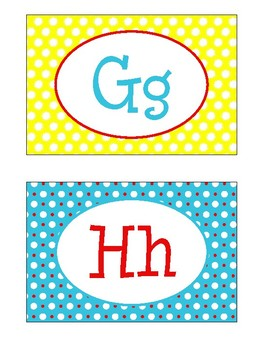 Alphabet Wall Cards / Word Wall Cards in Primary Colors Theme