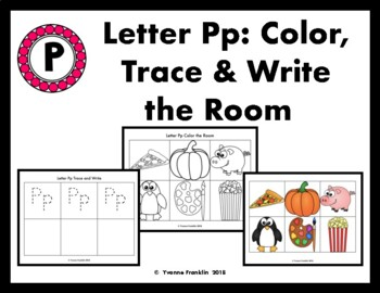 Letter Pp Color, Trace & Write the Room