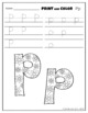 Letter Pp Printing and Pattern Coloring Worksheets