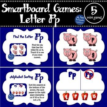 Letter Pp Smartboard Games (5 mini games) (Smartboard/Promethean Board)