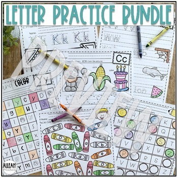 Alphabet Letter Writing Practice Worksheets and Centers Activities BUNDLE