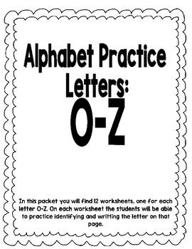 Letter Practice O-Z