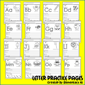 Letter Practice Pages A-Z (Letter ID and Sounds)