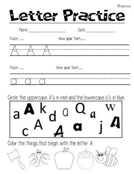 Letter Practice:, trace it, write it, identify it, & hear it