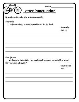 Friendly Letter Practice Worksheet Friendly Letter Writing Worksheet Punctuation