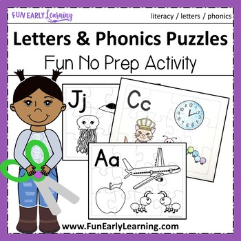 Letters & Phonics Puzzles - No Prep Interactive Worksheets
