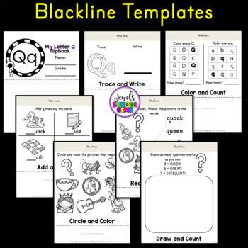 Letter Q Alphabet Flip Book (Alphabet Interactive Notebook Activities)