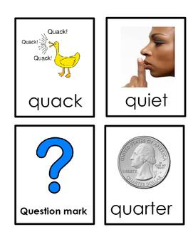 Letter Q Beginning Sound Flash Cards