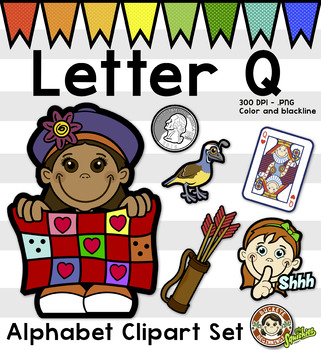 Alphabet Clip Art: Letter Q Phonics Clipart Set - Clip Art