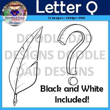 Letter Q Clip Art (Quarter, Quail, Q-Tip, Quill, Queen, Question)