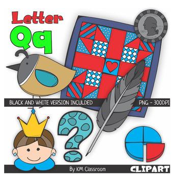 Letter Q Color and Line Art ClipArt