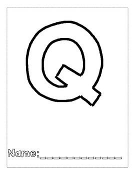 Letter Q Color and Trace AlphaBook