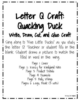 Letter Q Craft: Five Little Ducks (Quacking Duck)