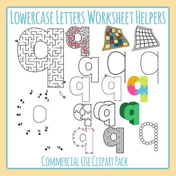 Letter Q (Lowercase) Worksheet Helper Clip Art Set For Commercial Use