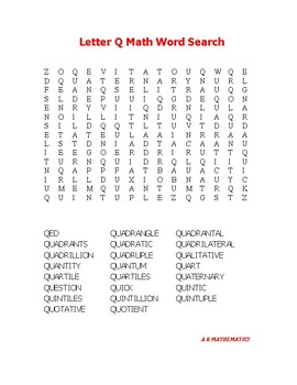 Letter Q Math Word Search
