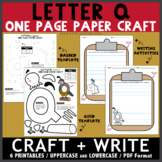 Letter Q One Page Paper Crafts - Quail and Quiver