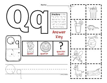 Letter Q Picture Sort - Initial Sound