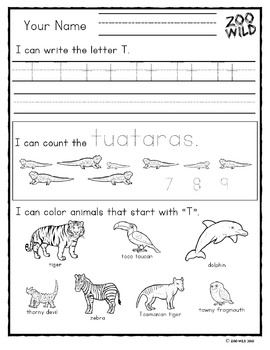 Letters Q, R, S, T & U Practice Pages -- Zoo Morning Work -- Homeschool
