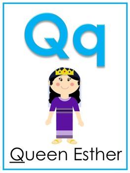 Letter Q Printable Bible Alphabet Poster. Preschool-Kindergarten Phonics.