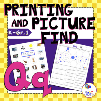 Letter Q Printing and Picture Find Printables | myABCdad Learning for Kids