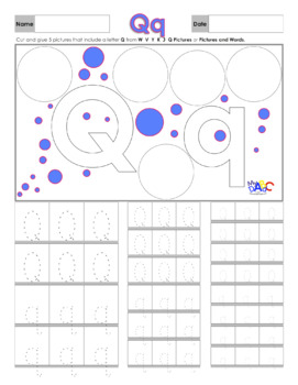 Letter Qq Printing and Picture Find Worksheets