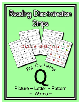 Letter Q Reading Discrimination Strips for Fluency and Alp