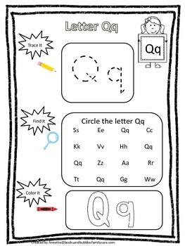 "Letter ""Q"" Trace it, Find it, Color it.  Preschool printable worksheet. Daycare."