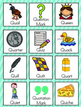words with the letter q letter q vocabulary cards by the tutu teachers 25770 | original 2155433 3