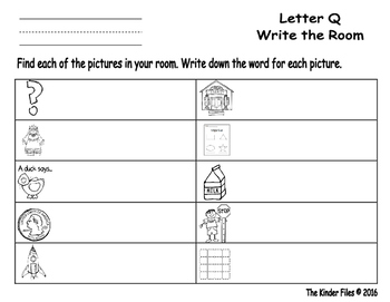 Letter Q Write the Room- Includes 3 levels of answer sheets