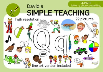 Letter Q phonics - spelling clipart with free preview
