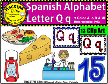 Letter Q q Spanish Alphabet Clip Art   Letra Qq Personal and Commercial Use