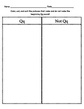 Letter Qq Beginning Sound Sort/Phonemic Awareness