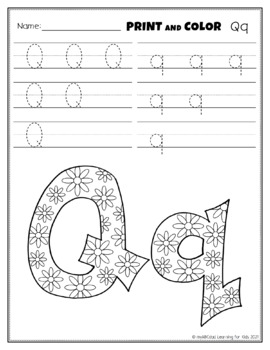 Letter Qq Printing and Pattern Coloring Worksheets