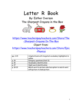 Letter R Adapted Book and Activities