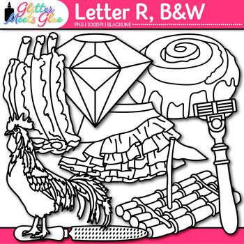 Letter R Alphabet Clip Art {Teach Phonics, Recognition, and Identification} B&W
