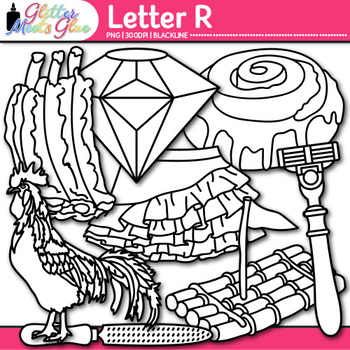 Letter R Alphabet Clip Art | Teach Phonics, Recognition, & Identification | B&W