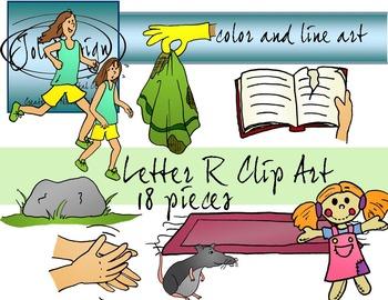 Letter R Clip Art - Color and Line Art 18 pc set