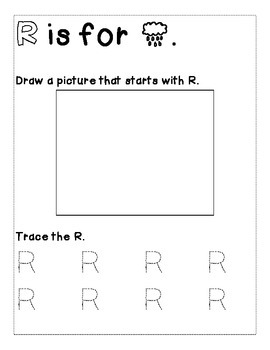 Letter R Color and Trace AlphaBook