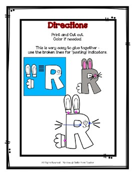 Letter R Craftivity - Rabbit - Zoo Phonics Inspired - Color & BW Versions