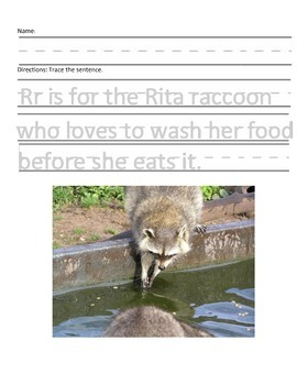Letter R for Raccoon Handwriting Practice and Questions!