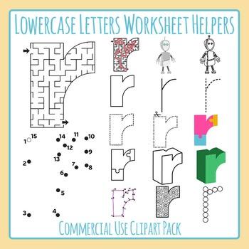 Letter R (Lowercase) Worksheet Helper Clip Art Set For Commercial Use