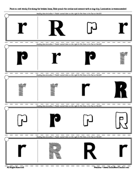 Letter R Reading Discrimination Strips for Fluency and Alphabet Recognition