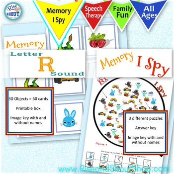 Letter R Sound 4 Game Bundle; Shout Out, X-out, I Spy, Memory