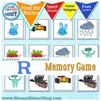 Letter R Sound Memory Game, Find the match, matching game